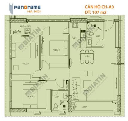 Bán căn 3 ngủ 107m2 tòa CT1A chung cư Panorama Hoàng Mai