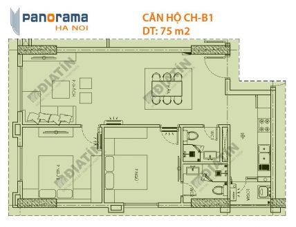 Bán căn 2 phòng ngủ 75m2 tòa CT1A Panorama Hoàng Mai