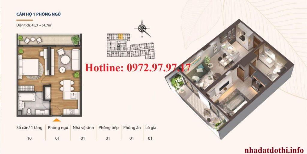 Căn hộ 1 ngủ chung cư Hà Nội Phoenix Tower