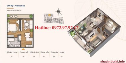 Căn hộ 1 phòng ngủ chung cư Hà Nội Phoenix tower
