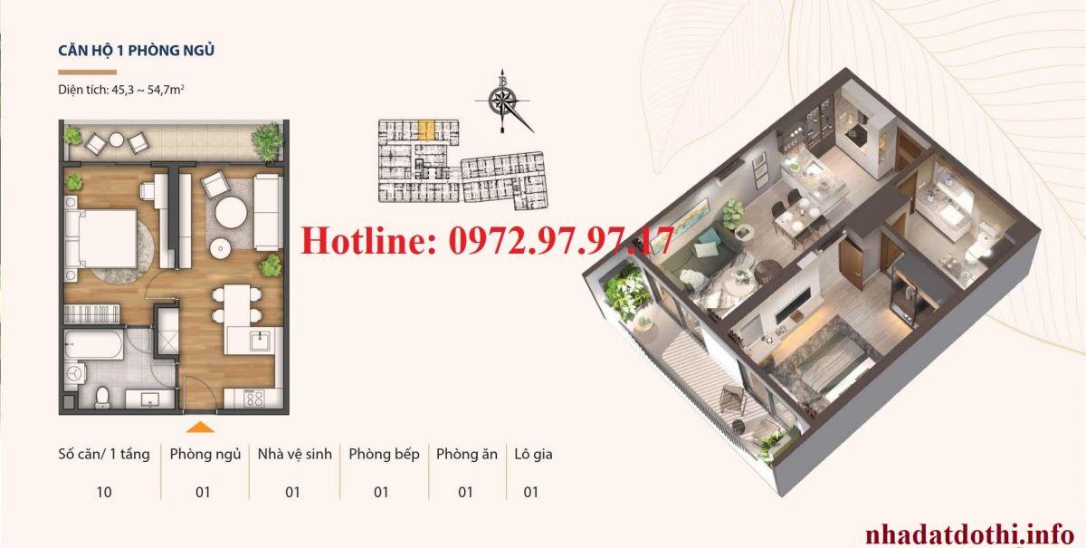 Thiết kế căn hộ 1 ngủ chung cư Hà Nội Phoenix Tower