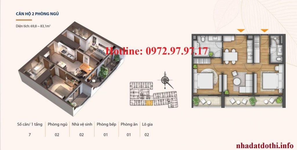 Căn hộ 2 ngủ chung cư Hà Nội Phoenix Tower