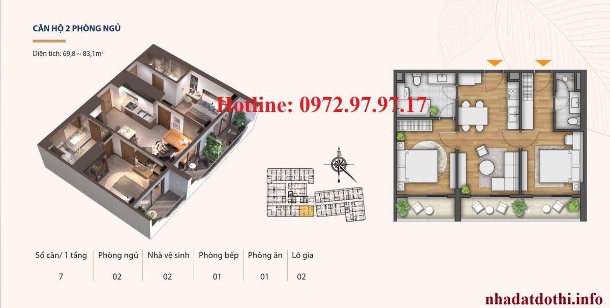Căn 2 ngủ chung cư Hà Nội Phoenix Tower