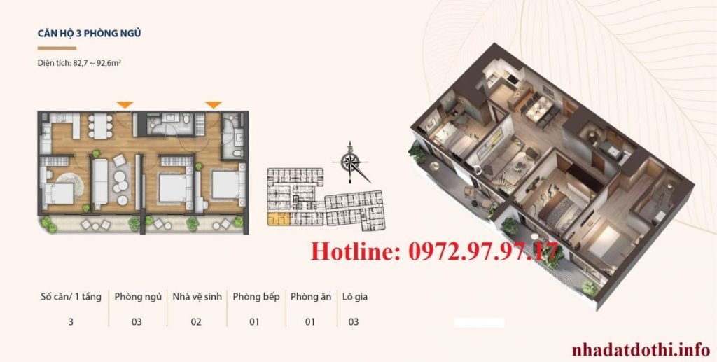 Căn hộ 3 ngủ chung cư Hà Nội Phoenix Tower