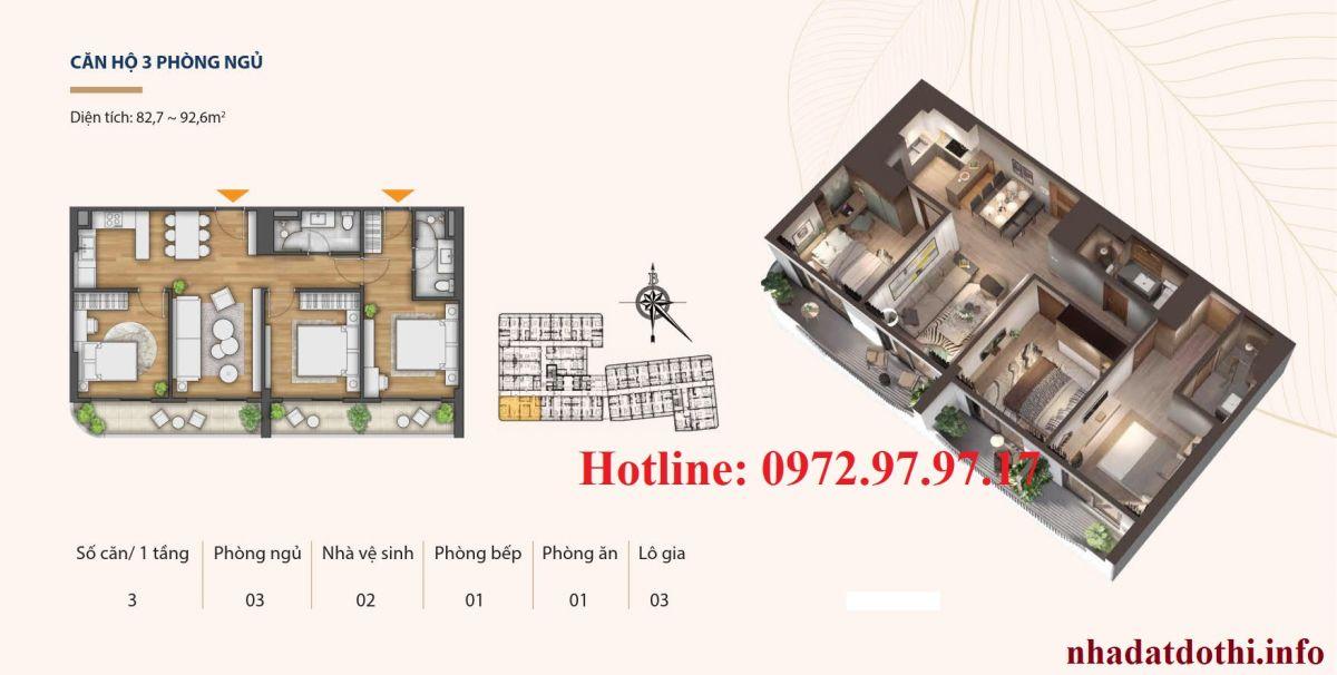 Căn 3 ngủ chung cư Hà Nội Phoenix Tower