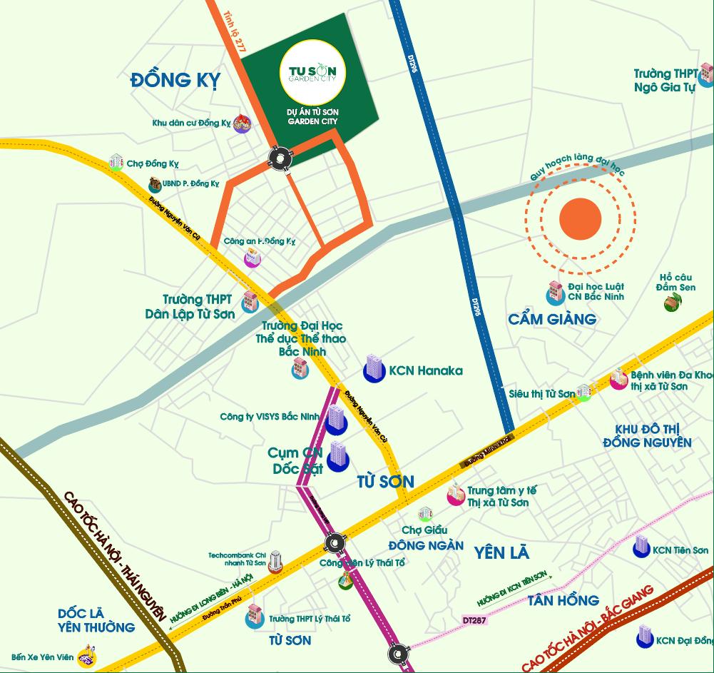 Vị trí chiến lược dự án Nam Hồng Garden Từ Sơn